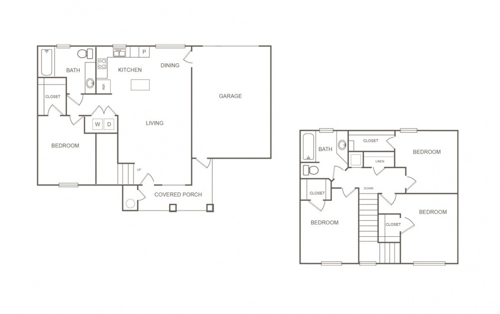 Aspen - 4 bedroom floorplan layout with 2 bath and 1445 square feet (1st floor 2D)