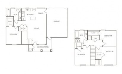 Aspen - 4 bedroom floorplan layout with 2 bath and 1445 square feet