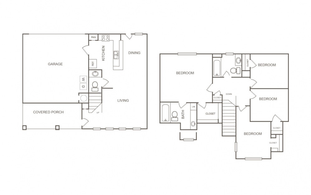 Cedar - 4 bedroom floorplan layout with 2.5 bath and 1429 square feet (1st floor 2D)