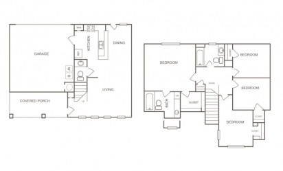 Cedar - 4 bedroom floorplan layout with 2.5 bath and 1429 square feet
